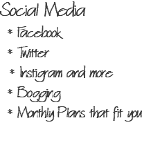 Social Media * Facebook * Twitter * Instigram and more * Bogging * Monthly Plans that fit you